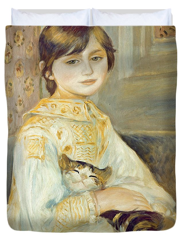 Julie Duvet Cover featuring the painting Julie Manet With Cat by Pierre Auguste Renoir