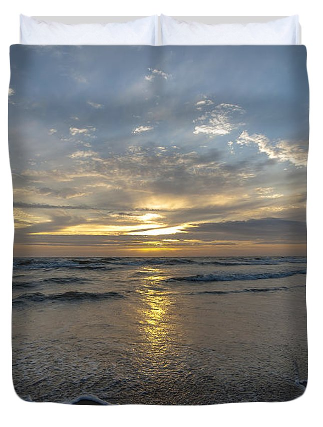 Sea Duvet Cover featuring the photograph July 2015 Sunset Part 1 by Alex Hiemstra