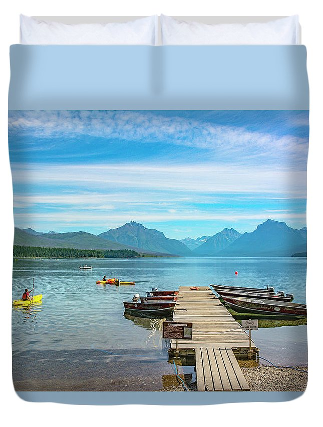 Montana Duvet Cover featuring the photograph July 4th on Lake McDonald by Bryan Spellman