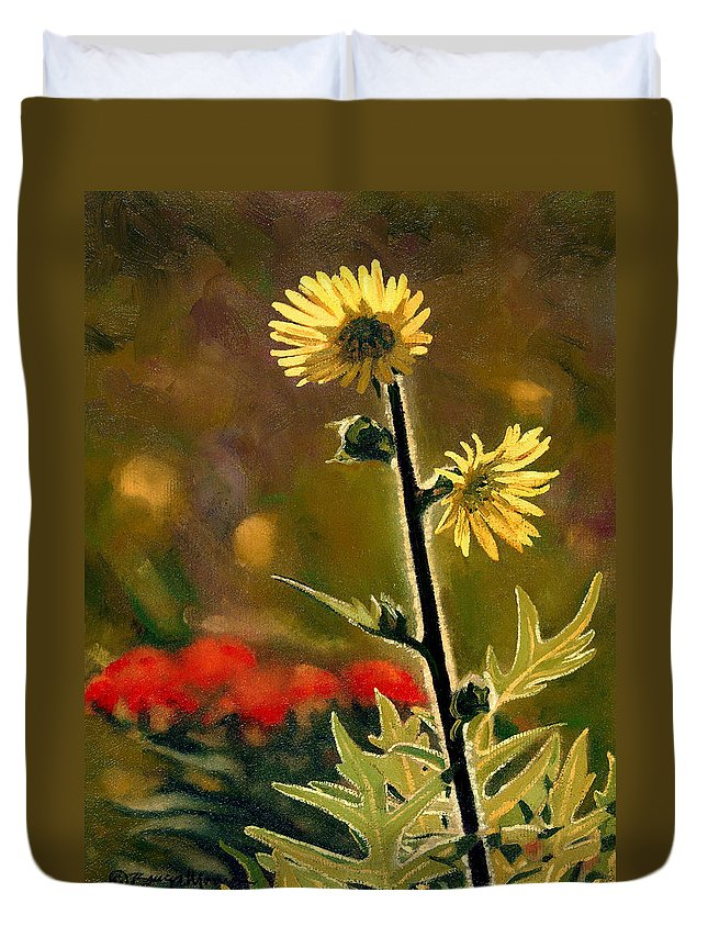 Prairie Flowers Duvet Cover featuring the painting July Afternoon-compass Plant by Bruce Morrison