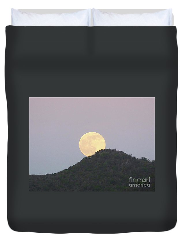 Full Duvet Cover featuring the photograph July Full Moon Rising by Margaret Brooks