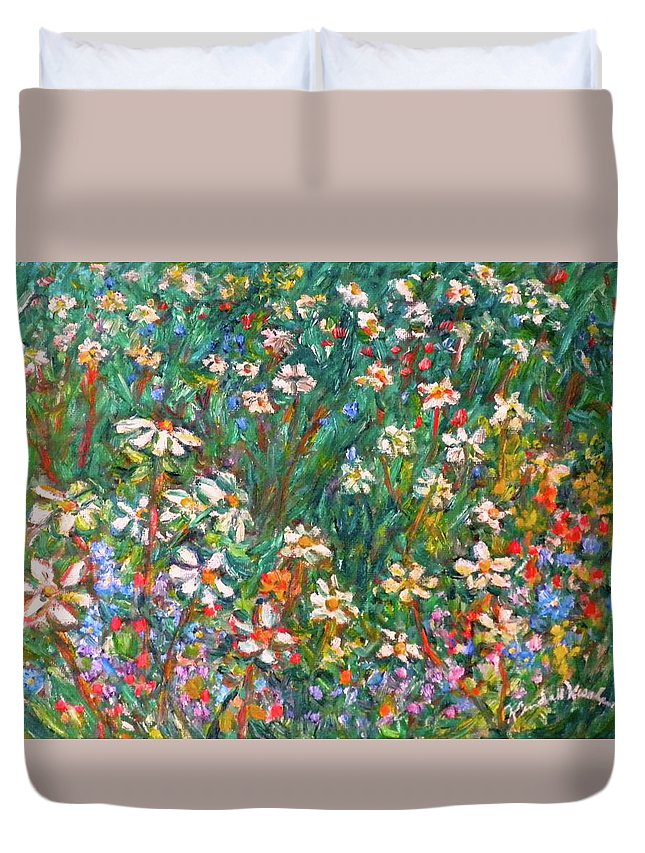 Kendall Kessler Duvet Cover featuring the painting Jumbled Up Wildflowers by Kendall Kessler