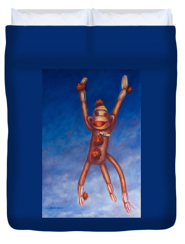 Children Duvet Cover featuring the painting Jump For Joy by Shannon Grissom