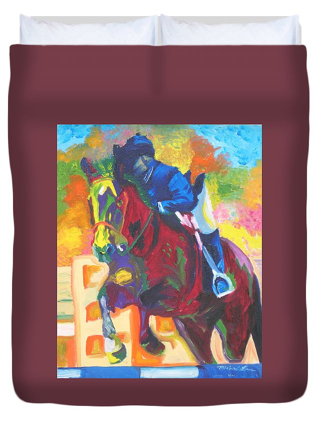 Horse Jumping Duvet Cover featuring the painting Jump Off by Michael Lee