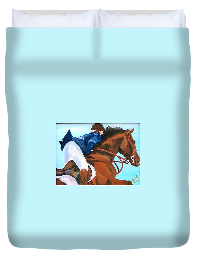Horses Duvet Cover featuring the painting Jumper by Michael Lee
