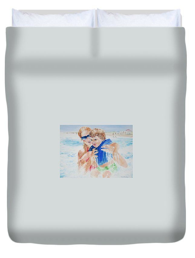 Seascapes Duvet Cover featuring the painting Jumping The Shore Break by Tom Harris