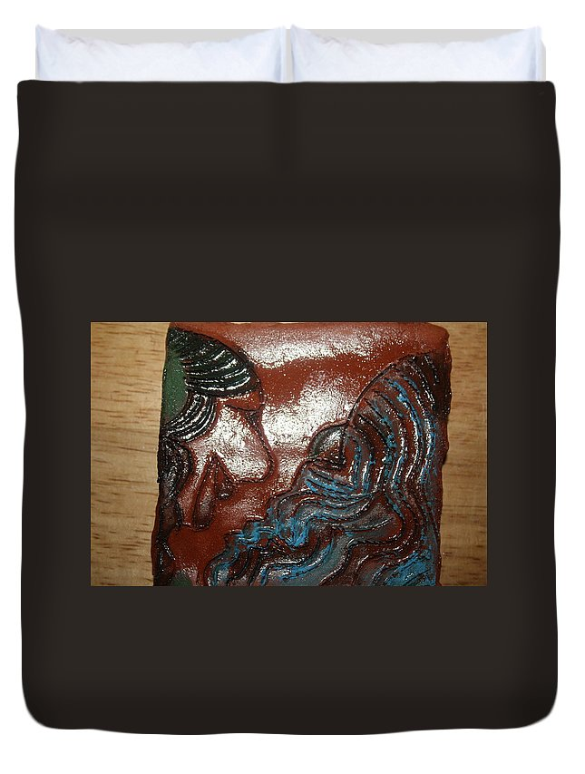 Jesus Duvet Cover featuring the ceramic art June - Tile by Gloria Ssali