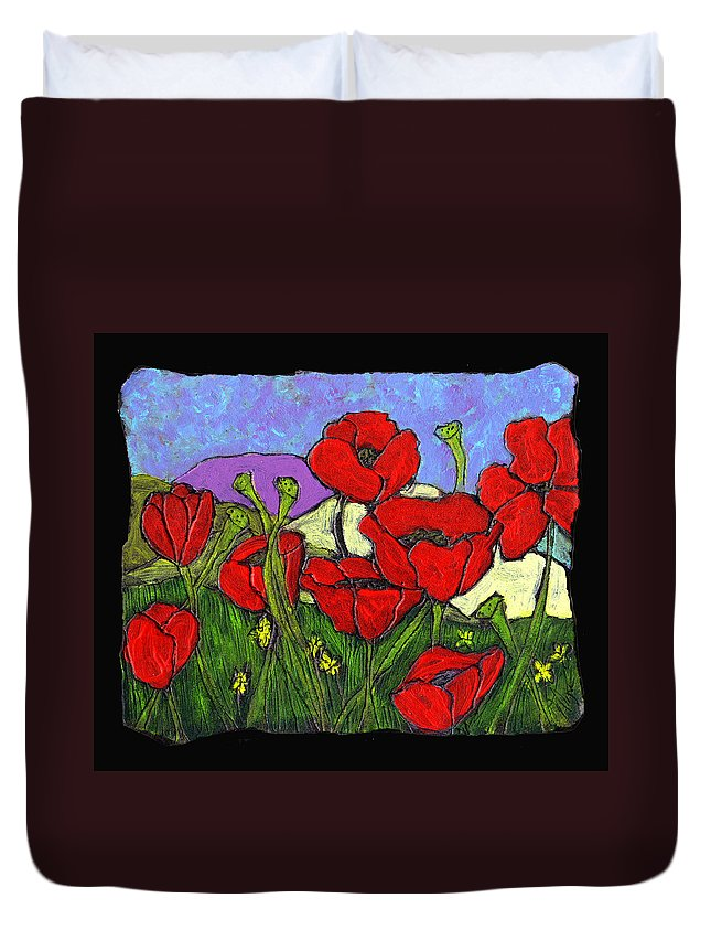 Poppies Duvet Cover featuring the painting June Poppies by Wayne Potrafka