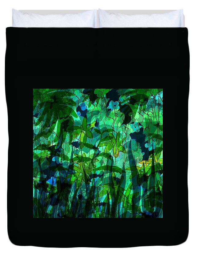 Abstract Duvet Cover featuring the digital art Jungle Colors by Rachel Christine Nowicki