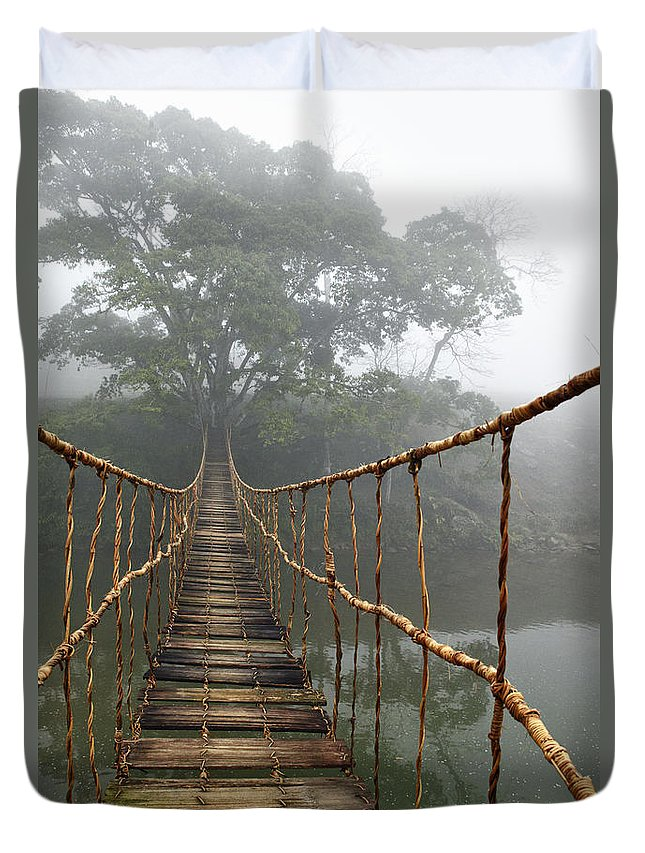 Rope Bridge Duvet Cover featuring the photograph Jungle Journey 2 by Skip Nall