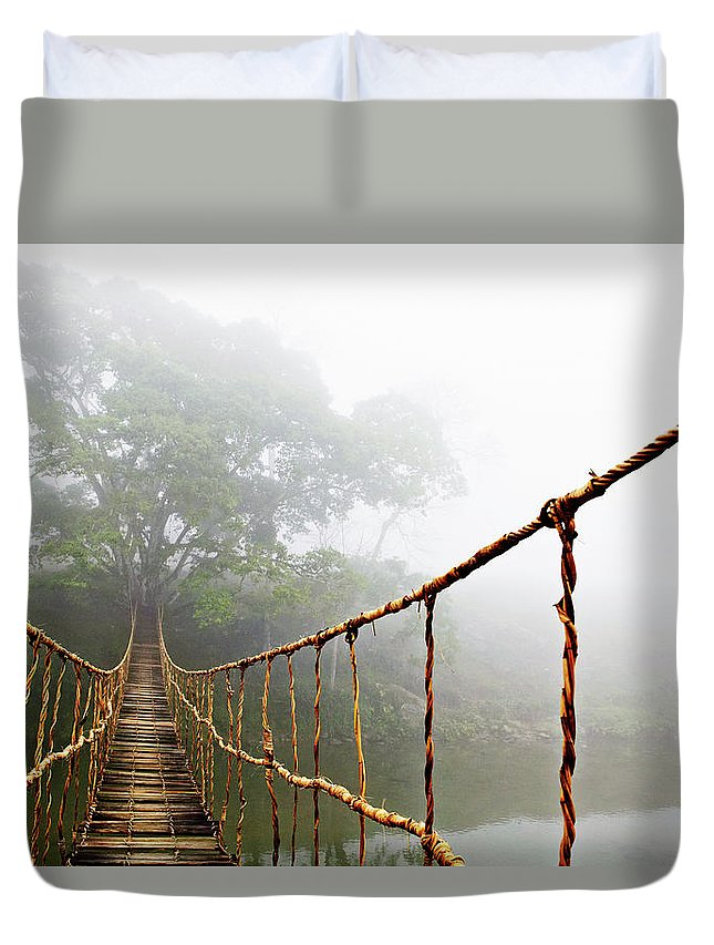 Rope Bridge Duvet Cover featuring the photograph Jungle Journey by Skip Nall