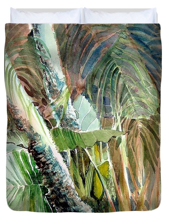 Palm Tree Duvet Cover featuring the painting Jungle Light by Mindy Newman