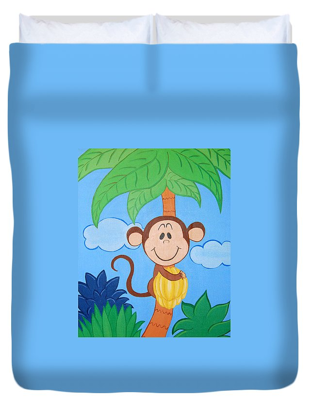 Monkey Duvet Cover featuring the painting Jungle Monkey by Valerie Carpenter
