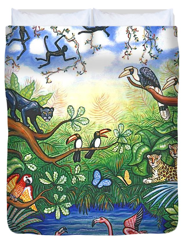 Landscape Duvet Cover featuring the painting Jungle One by Linda Mears
