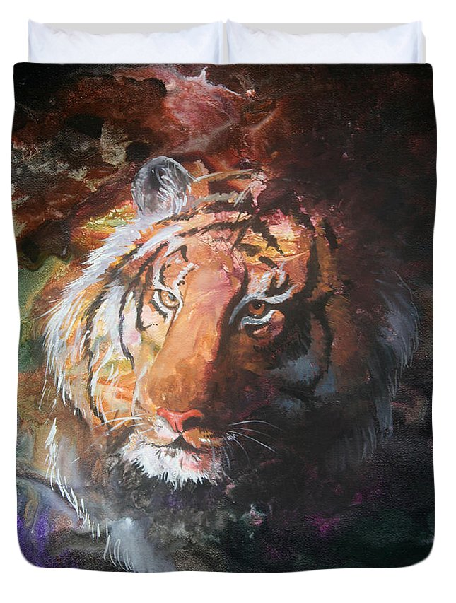 Tiger Duvet Cover featuring the painting Jungle Tiger by Sherry Shipley