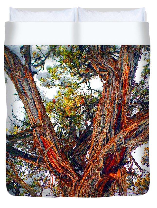 Juniper Duvet Cover featuring the photograph Juniper Bark by Deborah Moen