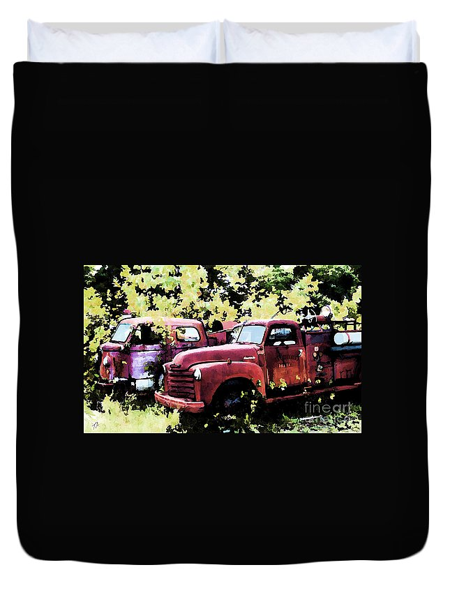 American La France Duvet Cover featuring the digital art Junked Fire Engines by Tommy Anderson