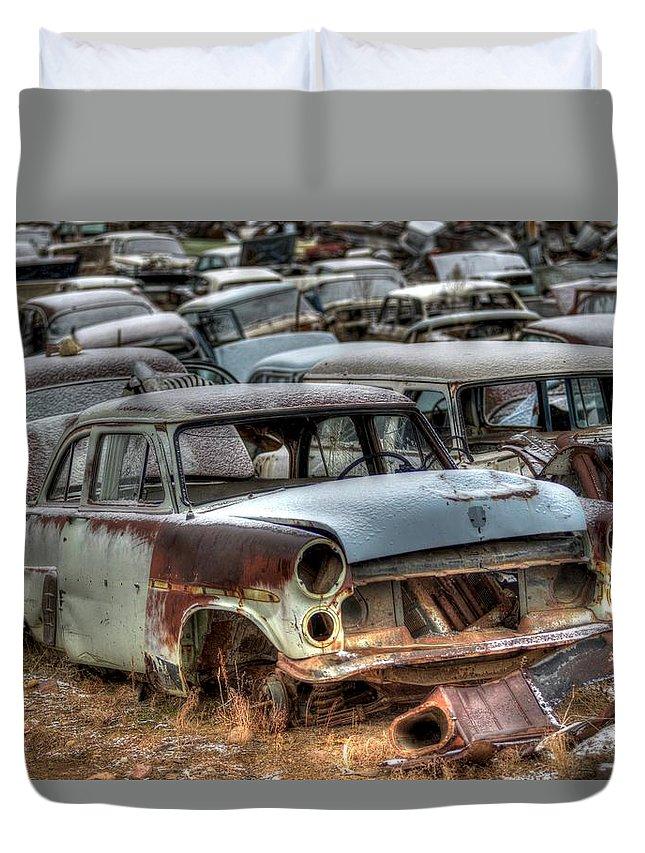 Salvage Yard Duvet Cover featuring the photograph Junkyard Dog by Craig Incardone