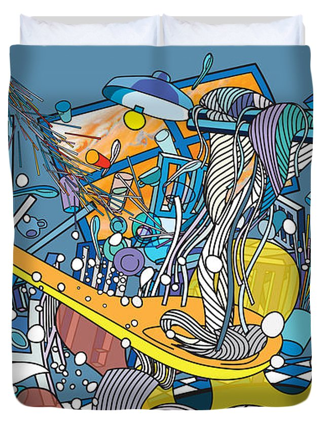 Surrealism Duvet Cover featuring the digital art Jupiter Flyby - View From Pho Restaurant #1 by Cuong Huynh