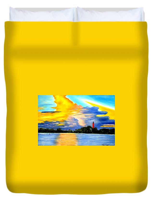 Lighthouse Duvet Cover featuring the painting Jupiter Light House by Jimi Giordano