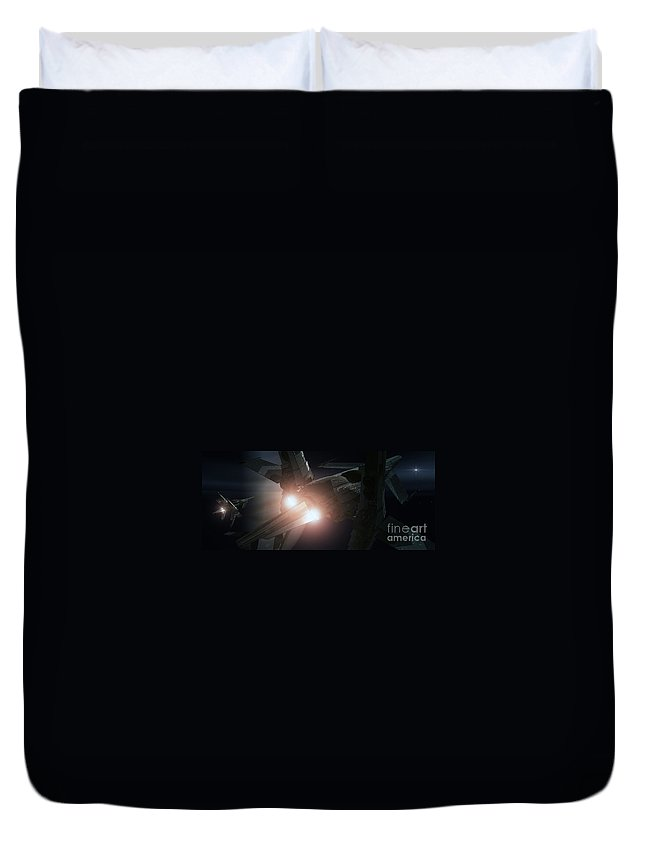 Space Duvet Cover featuring the digital art Jupiter Patrol by Richard Rizzo