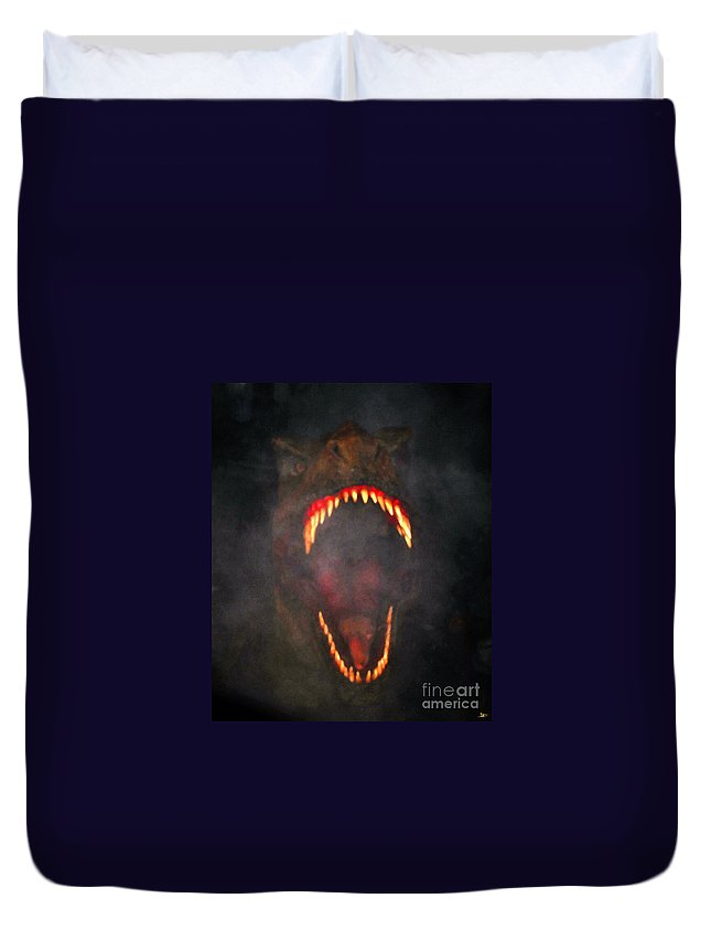 Artwork Duvet Cover featuring the painting Jurassic Terror by David Lee Thompson