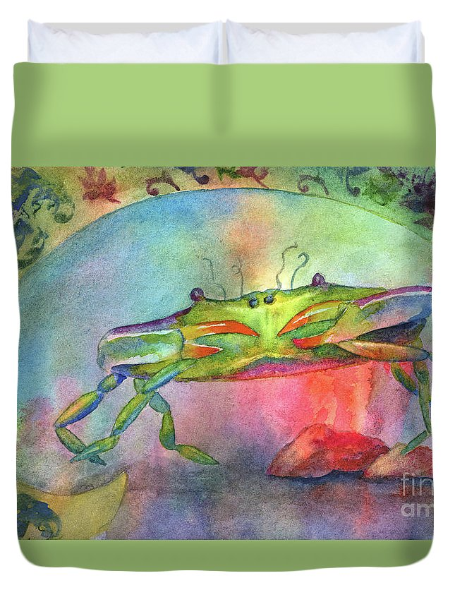 Crab Duvet Cover featuring the painting Just A Little Crabby by Amy Kirkpatrick