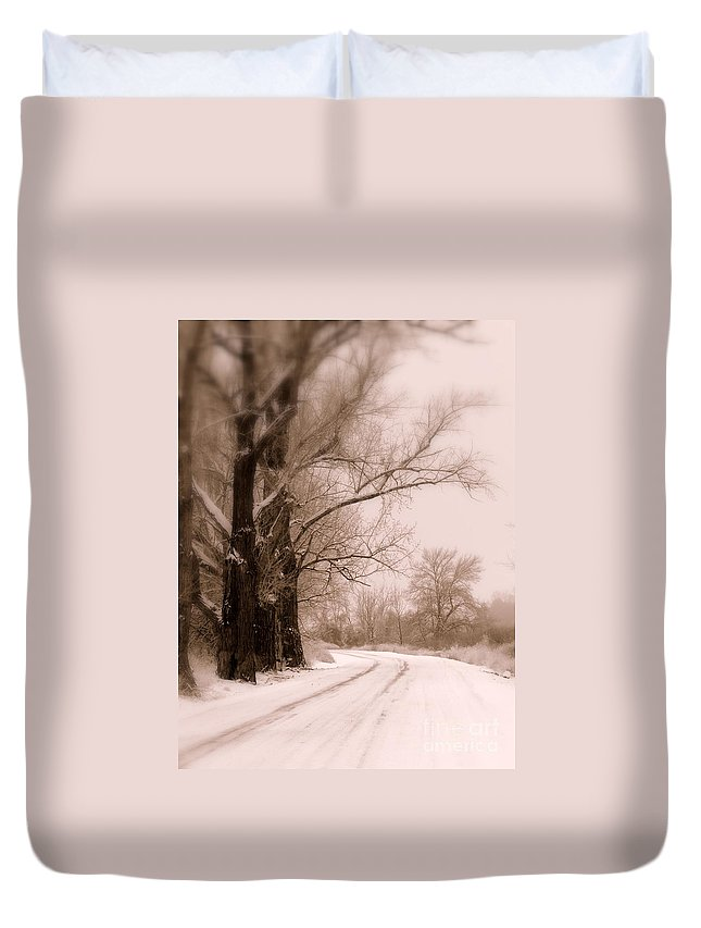 Winter Duvet Cover featuring the photograph Just Around The Bend by Carol Groenen