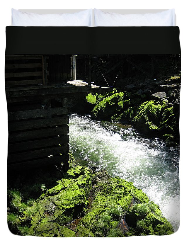 Landscape Duvet Cover featuring the photograph Just Around The Bend by Lori Tambakis