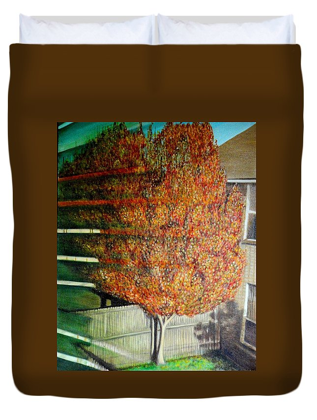 Fall Duvet Cover featuring the painting Just Before Fall by Usha Shantharam