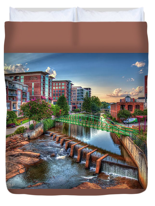Reid Callaway The Main Attraction Duvet Cover featuring the photograph Just Before Sunset 2 Reedy River Falls Park Greenville South Carolina Art by Reid Callaway