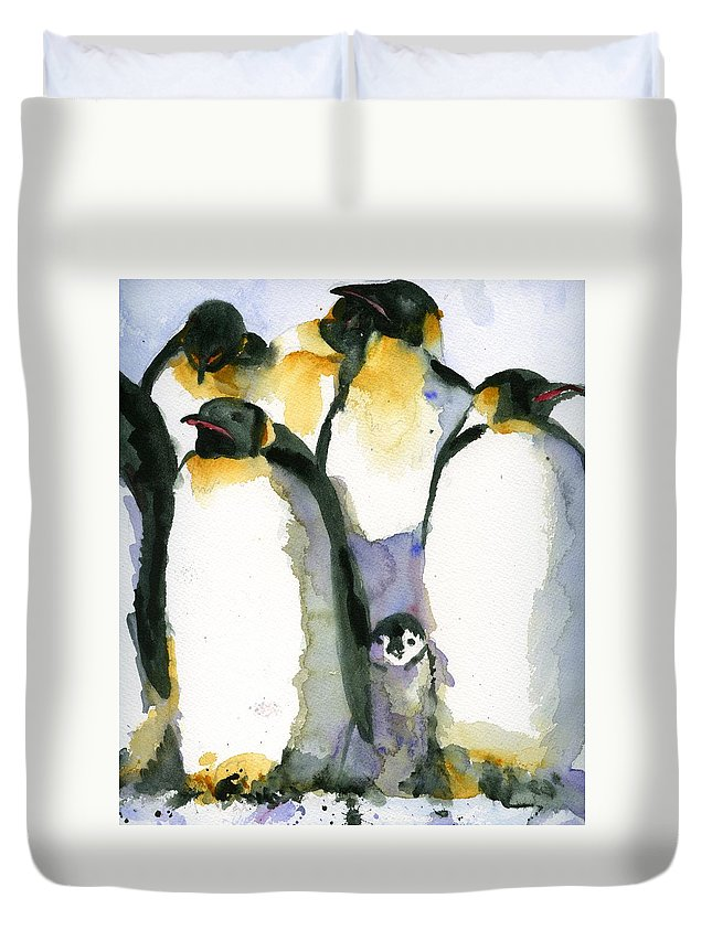 Art Duvet Cover featuring the painting Just Chillin by Miriam Schulman