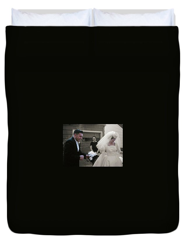 Vintage Duvet Cover featuring the photograph Just Married by JAMART Photography