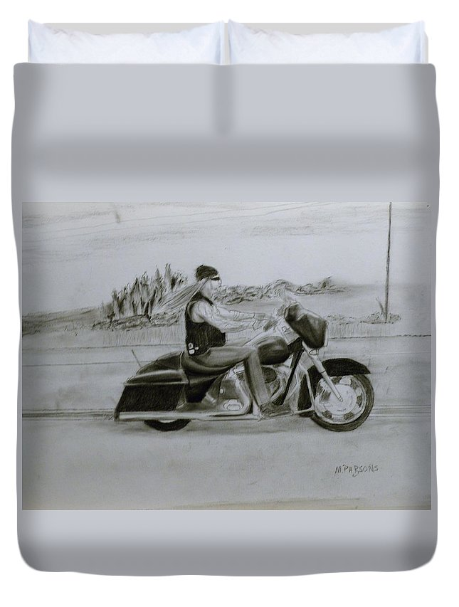 Duvet Cover featuring the drawing Just Me by Mike Parsons