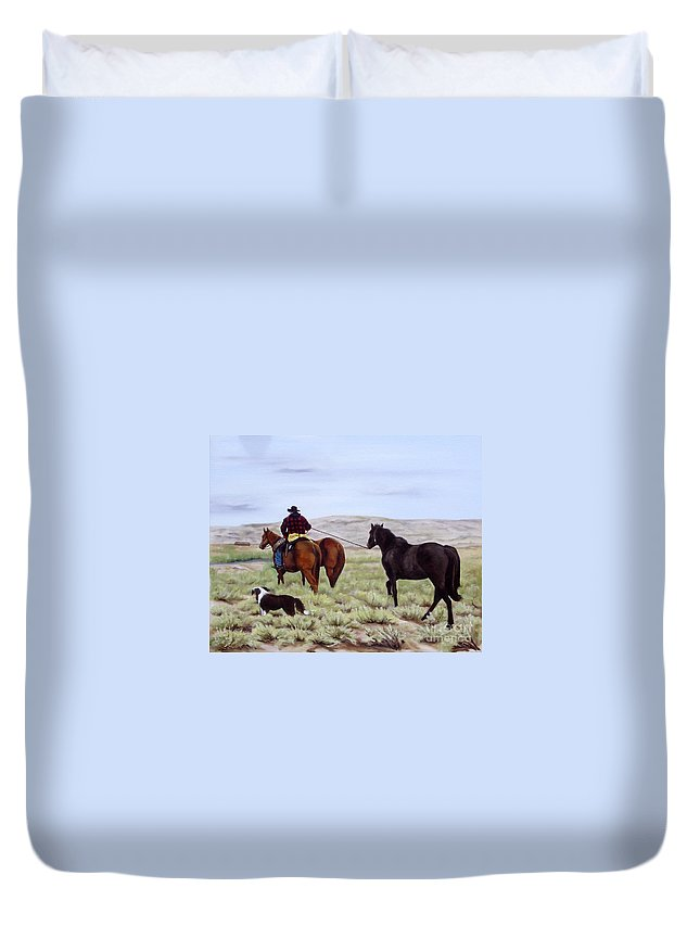 Art Duvet Cover featuring the painting Just Might Rain by Mary Rogers