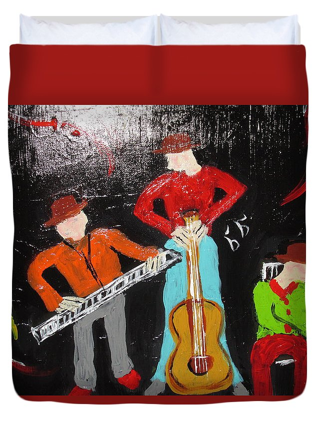 Abstract Whimsical Funfilled Colorful Music Guitars Black Red Green Ochre Duvet Cover featuring the painting Just Rippin It by Sharyn Winters