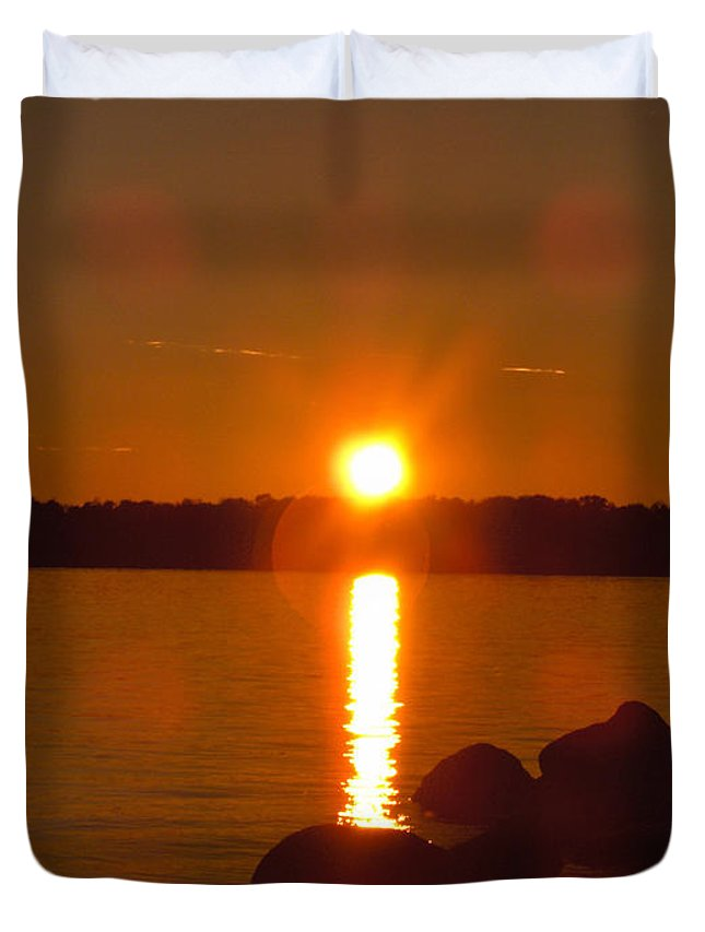 Beach Lake Rock Reeds Water Sky Duvet Cover featuring the photograph Just Rock by Andrea Lawrence