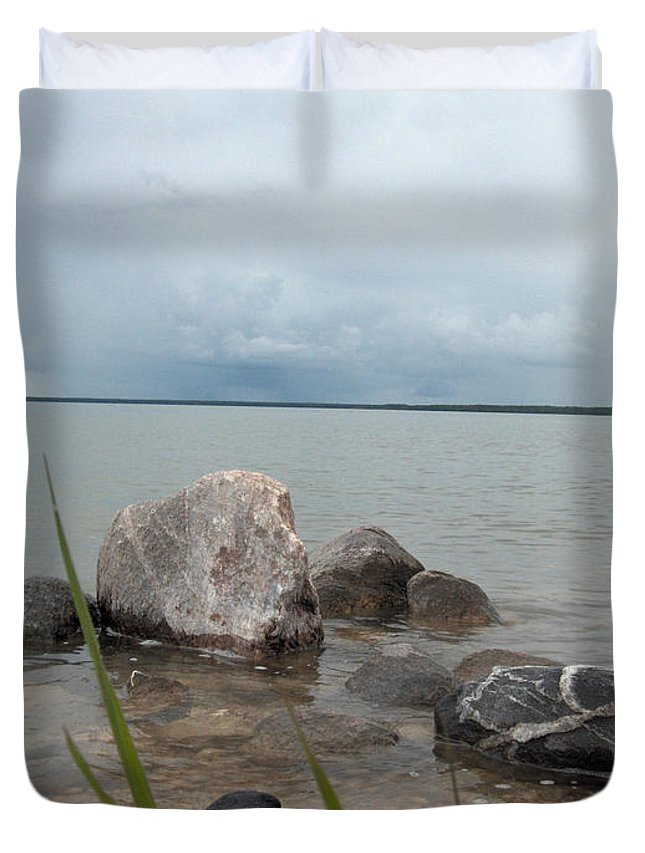 Rocks Water Lake Sky Nature Clouds Duvet Cover featuring the photograph Just Rocks by Andrea Lawrence