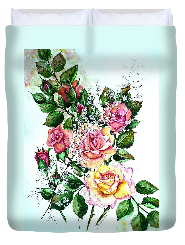 Floral Paintings Pink Paintings  Rose Paintings  Flower Paintings Botanical Paintings Greeting Card Paintings Canvas Prints Paintings Poster Prints Paintings Babies Breath Painting  Duvet Cover featuring the painting Just Roses by Karin Dawn Kelshall- Best
