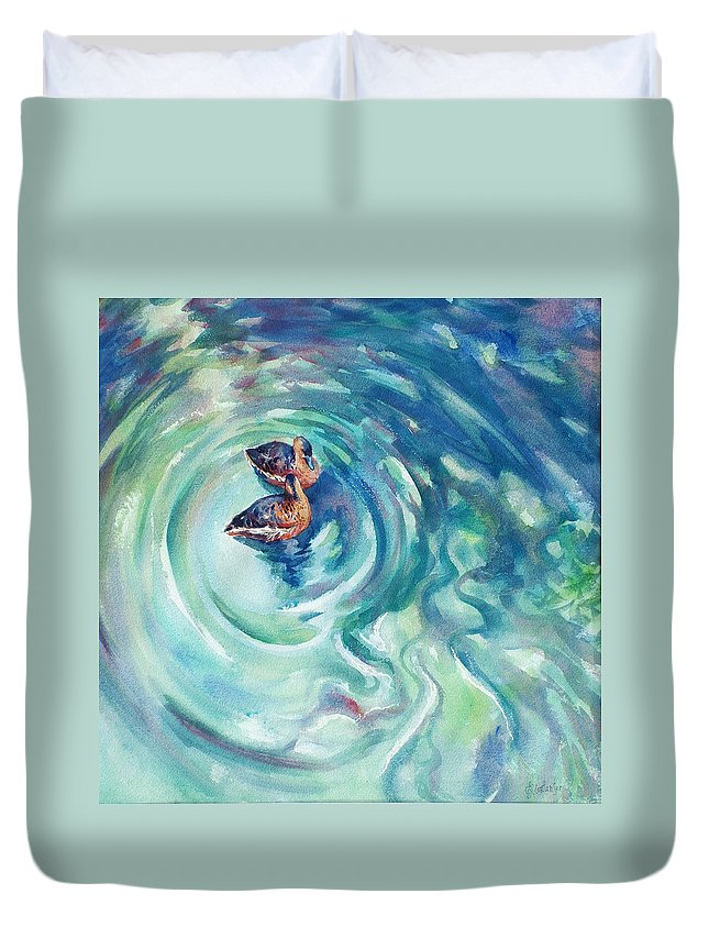Ducks Duvet Cover featuring the painting Just Swimming by Ekaterina Mortensen