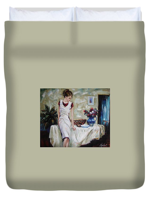 Figurative Duvet Cover featuring the painting Just The Next Day by Sergey Ignatenko