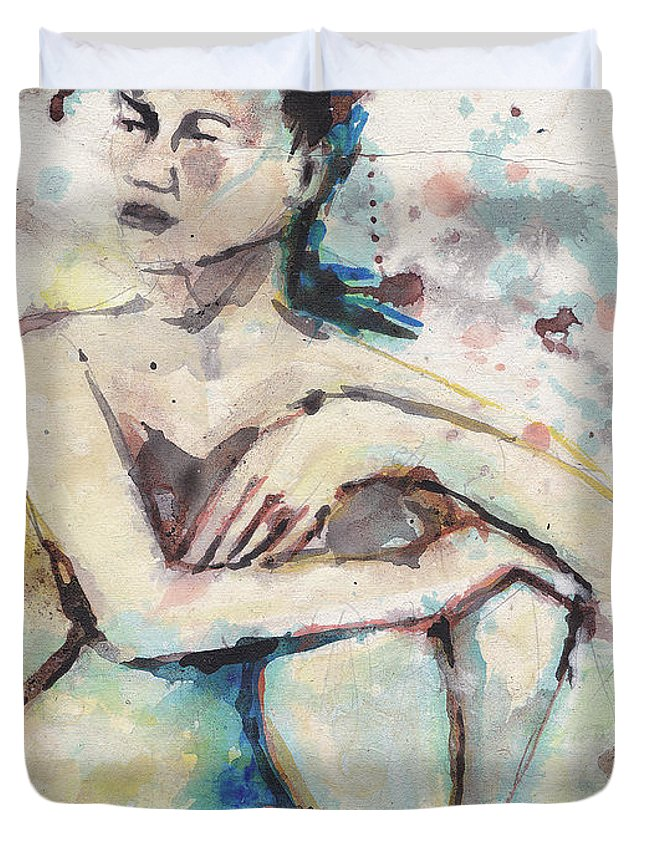 Blue Duvet Cover featuring the painting Just There by Gordon Tardio