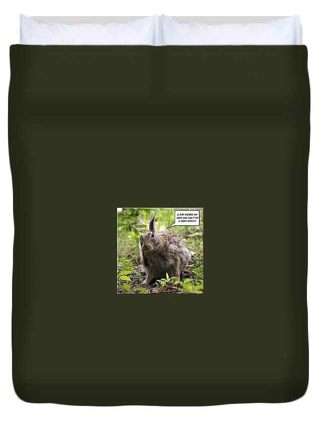 2d Duvet Cover featuring the photograph Just Washed My Hare by Brian Wallace