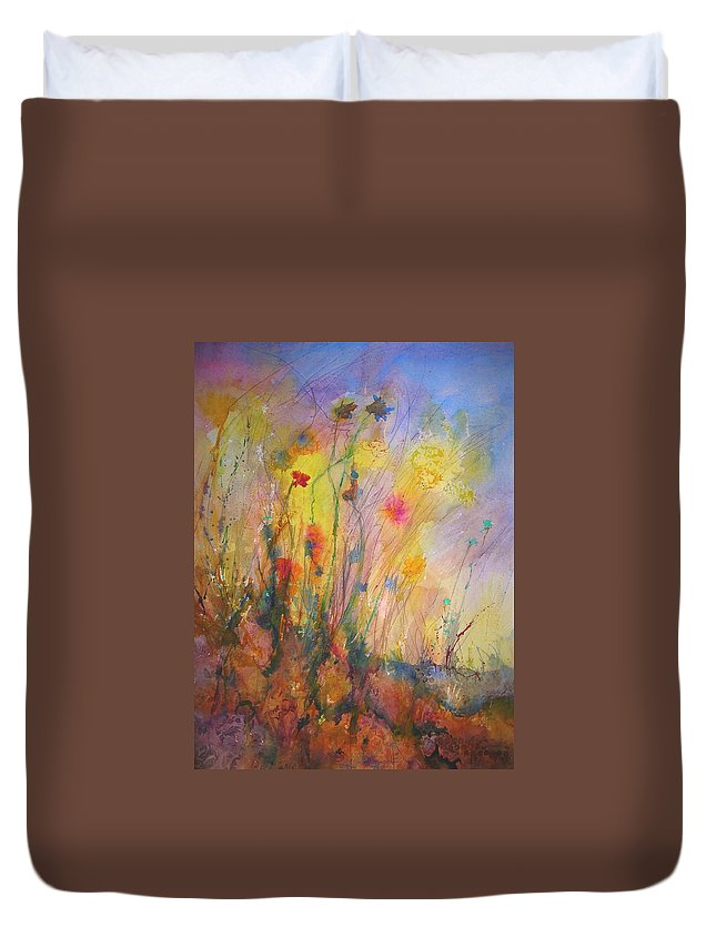 Wild Duvet Cover featuring the painting Just Weeds by Mary Schiros