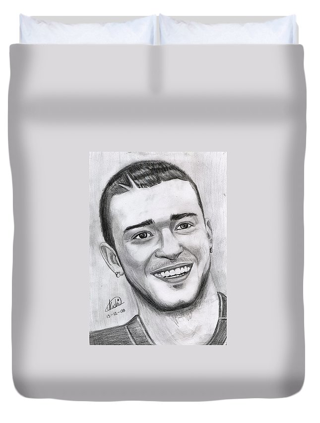 Justing Timberlake Duvet Cover featuring the drawing Justing Timberlake Portrait by Alban Dizdari
