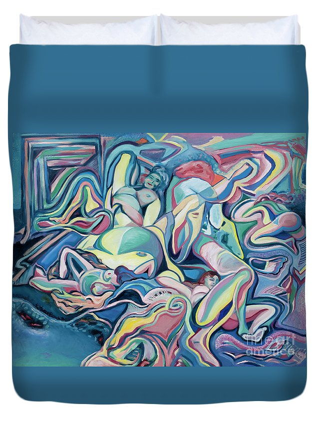 Female Duvet Cover featuring the painting Juxtapositions by Kerryn Madsen-Pietsch