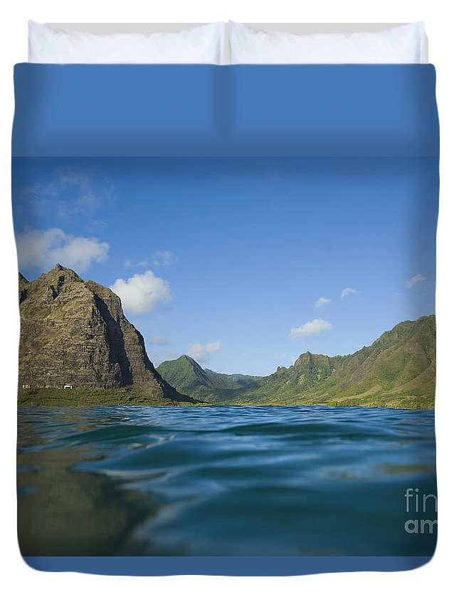 Adventure Duvet Cover featuring the photograph Kaaawa Valley From Ocean by Dana Edmunds - Printscapes