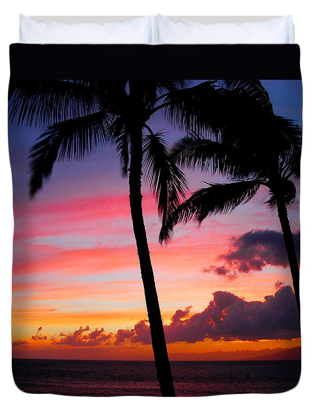 Kaanapali Sunset Duvet Cover featuring the photograph Kaanapali Sunset Kaanapali Maui Hawaii by Michael Bessler