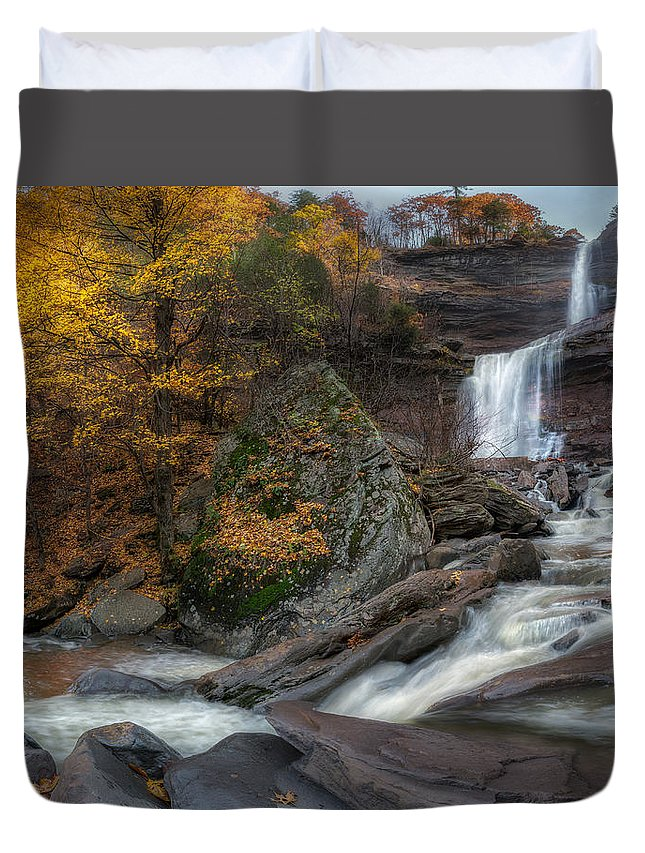 Kaaterskill Clove Duvet Cover featuring the photograph Kaaterskill Falls Autumn by Bill Wakeley