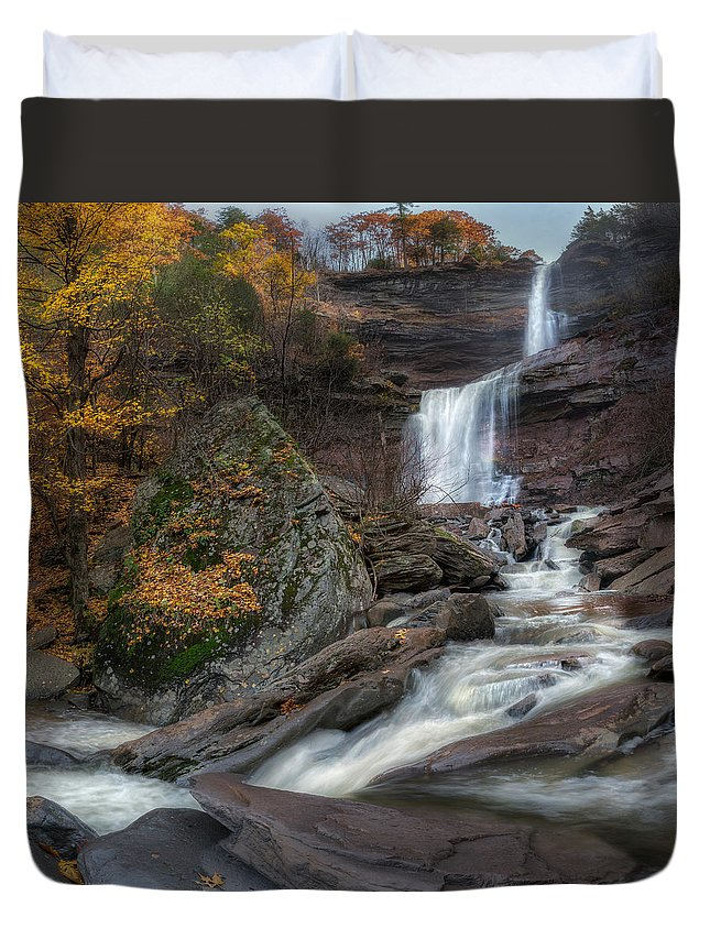 Kaaterskill Clove Duvet Cover featuring the photograph Kaaterskill Falls Autumn Square by Bill Wakeley